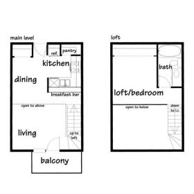 One bedroom apartment loft, Madison - Click for Floor Plan