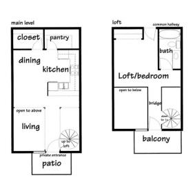 1 bedroom loft ground floor - Click for floorplan
